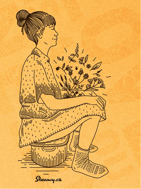 Žena oddávající se bylinné napářce.